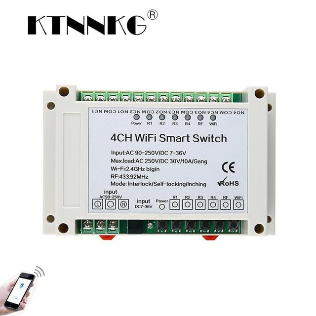 Ktnnkg 4CH wifi リレー受信機 110 v ac 90 250 v & 12 v DC7 36V ユニバーサル基本電源スイッチワイヤレスリモコンホーム