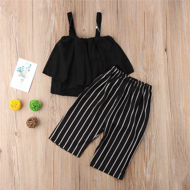 0cadcc5855fcc Detail Feedback Questions about 2PCS Summer Casual Toddlers Set Girl Outfits  Chiffon Shirt Crop Top+Loose Striped Pants Kids Clothing on Aliexpress.com  ...