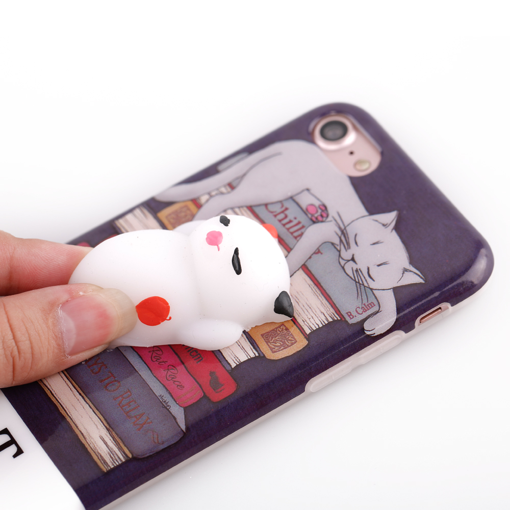 Squishy 3d cat phone case - 3d Squeeze Squishy Lazy Cat Tpu Phone Cases For Iphone 5 5s 5 Se 6 6s