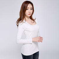 Korean T-Shirt Womens Long Sleeve Autumn Tshirt 2017 Slim Clothes T Shirt Black O-Neck Shirts For Women Poleas Manga Larga Mujer