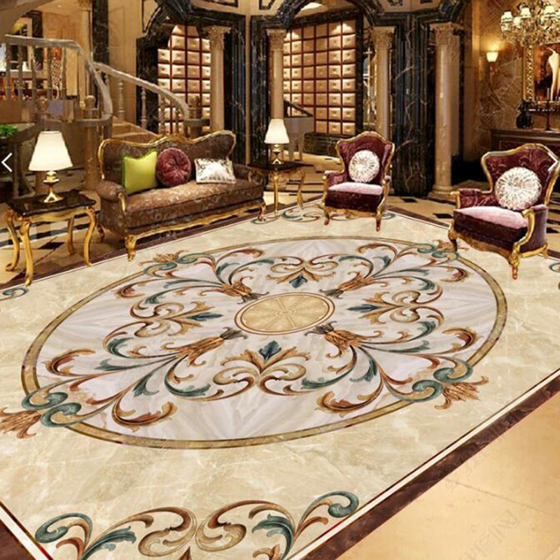 PVC Self Adhesive Waterproof 3D Floor Tiles Wallpaper European Style Marble Pattern Floor Sticker Living Room Hotel Luxury Decor