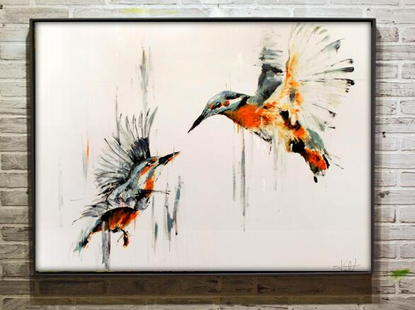 hand painted famoous artist pictures abstract birds art on canvas