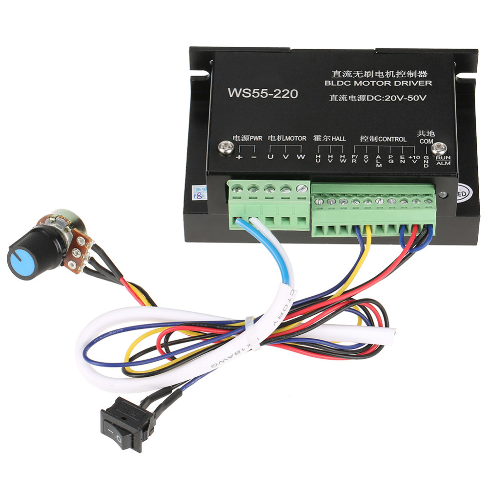 WS55-220 Brushless DC Motor Driver DC 48V 500W CNC Brushless Spindle BLDC Motor Driver Controller Салфетницы