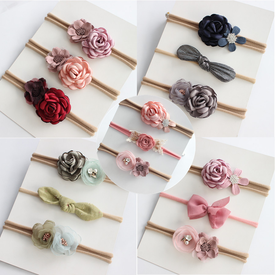 Boutique kids girl flower headband nylon headband elastic strench   headwear   3pcs a set