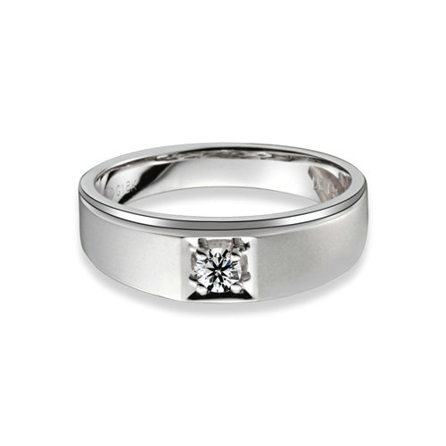 LASAMERO Round 0.5 CT Solitaire NSCD Simulated Diamond Men's Engagement Ring Band For Wedding