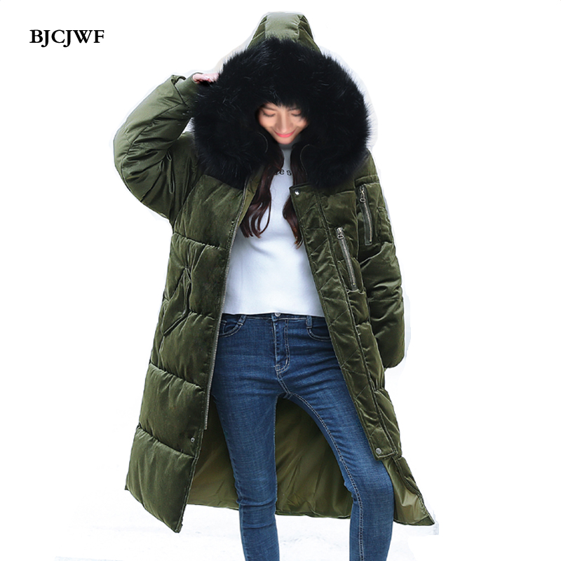 BJCJWF Winter Jacket women 2017 Fashion Pleuche PLUS size Thicken Cotton Padded Hooded Fur Collar Parka Warm Long Jacket Female bjcjwf 2017 winter jacket women wadded long parkas female outerwear hooded coat cotton padded fur collar parka thicken warm 1pc