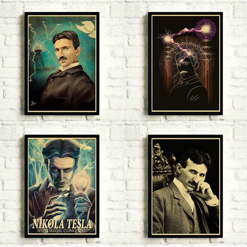 Us 184 7 Offworld Famous Inventor Nikola Tesla Retro Kraft Paper Poster Office Cafe Decorative Painting Home Decor Gift Wallpaper In Wall Stickers