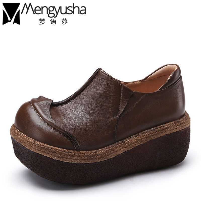 Retro Women Casual Shoes 2017 Handmade Genuine Leather Oxford Shoes Top Quality Autumn Thick Sole Platform