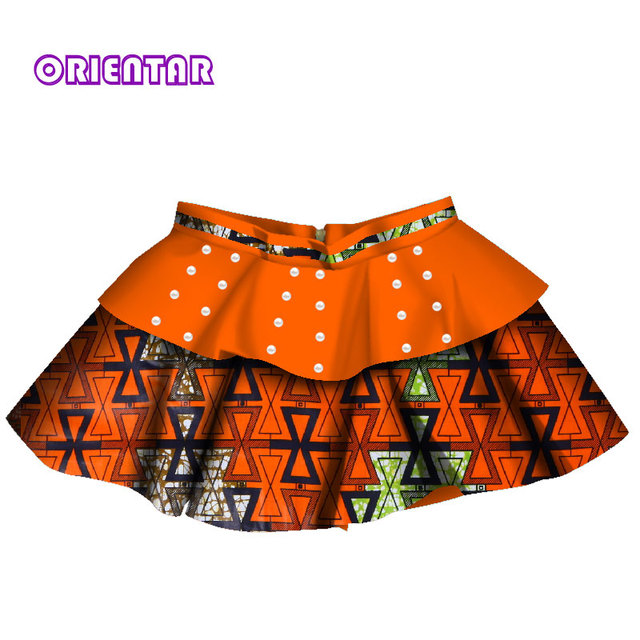 919fec67bc5 African Clothes Kids Girl Mini Skirts African Print Floral Pearl Children  Skirt Bazin Riche Clothes Summer Baby Girl Skirt WYT78