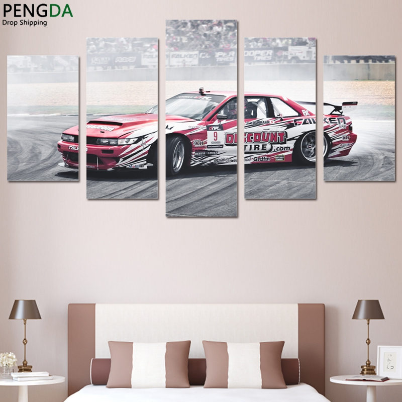 modern wall art hd prints sports car oil pictures frame modular poster 5 pieces nissan 240sx