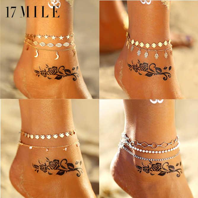 17MILE Boho винтажный бисер Звезда Мульти набор ножных браслетов из нержавеющей стали для женщин Золотой Серебряный браслет на ногу бижутерия для ног 2019