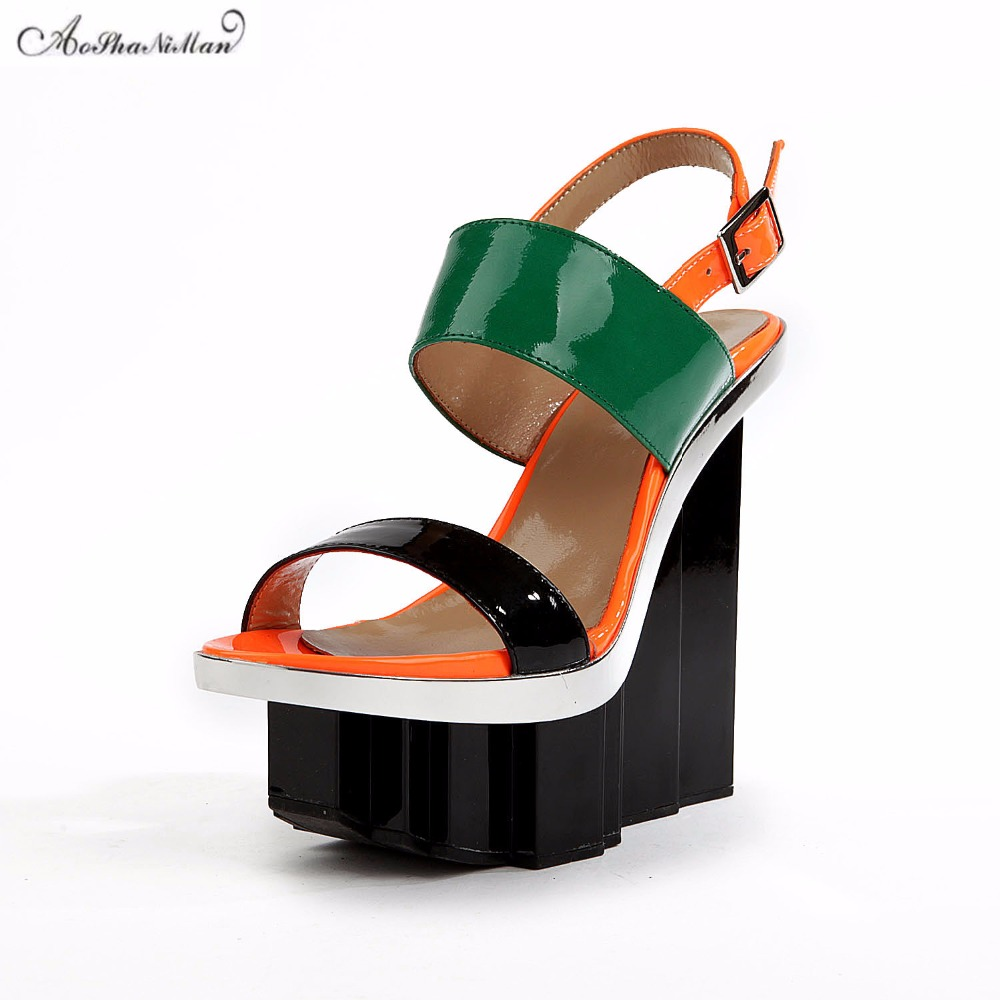2018 summer brand design women platform sandals Genuine leather Fashion colors summer shoes for woman sexy party pumps 36 41