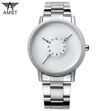 Moda marca amst 1042 movimiento de cuarzo relojs reloj nuevo diseño de cuero genuino correa de reloj de los hombres calientes de las mujeres relojes de pulsera de estudiantes