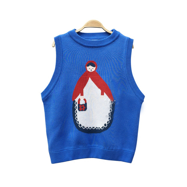 184ece0d117c Cute Doll Jacquard Women Knitted Vest Sleeveless Pullover Sweaters ...