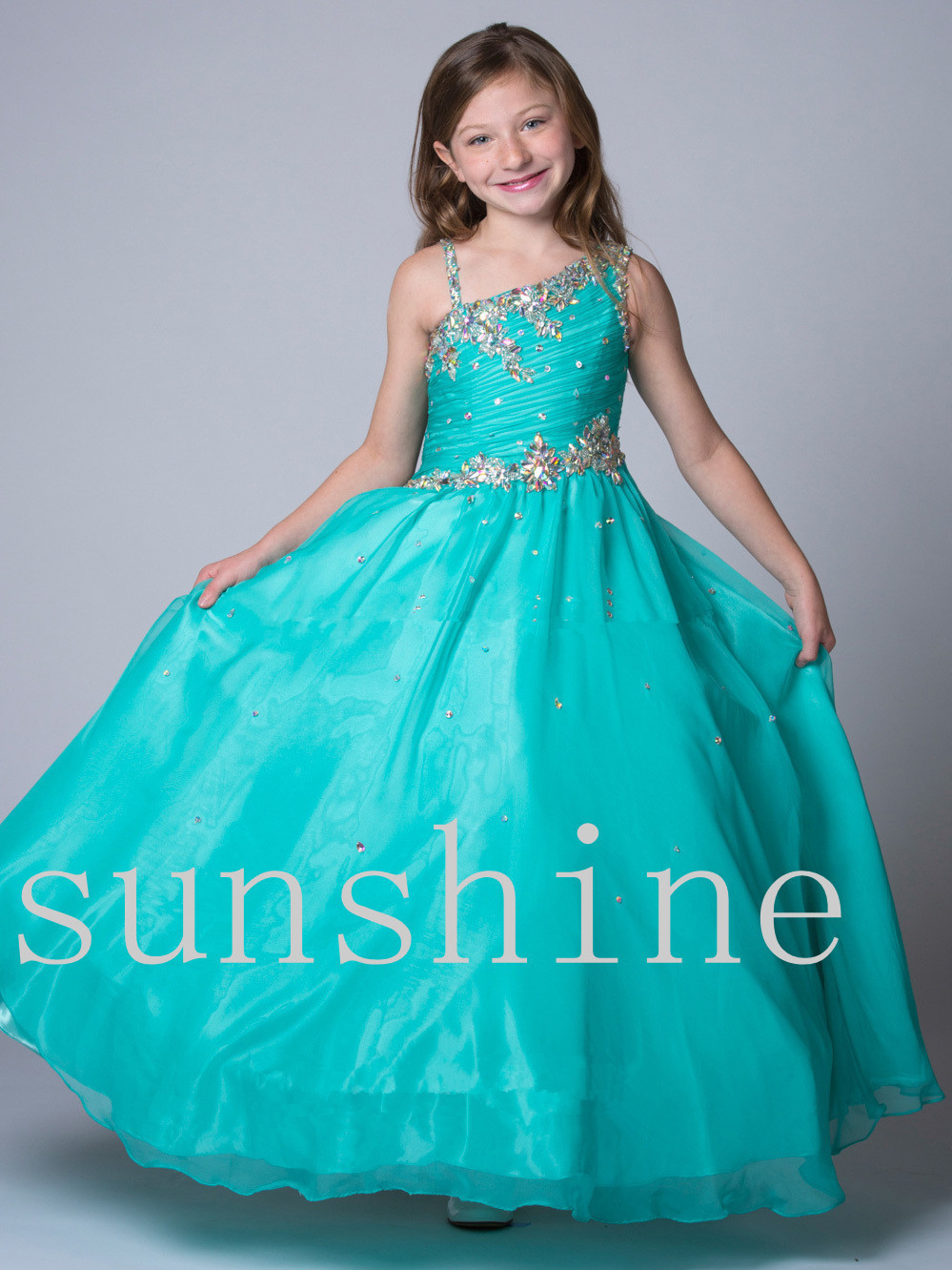 2016 girls pageant dresses ball gown yellow pink mint