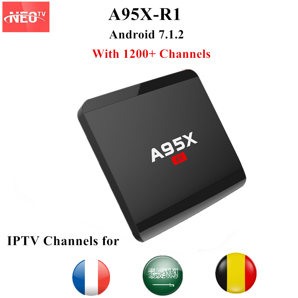A95X-R1 French IPTV Android TV Box 4K 1G 8G with NEO 1200 Live IPTV France Belgium Arabic PayTV Android 7.1.2 H.265 Smart TV Box french iptv box android tv box with 1year 1300 arabic france iptv belgium code live tv
