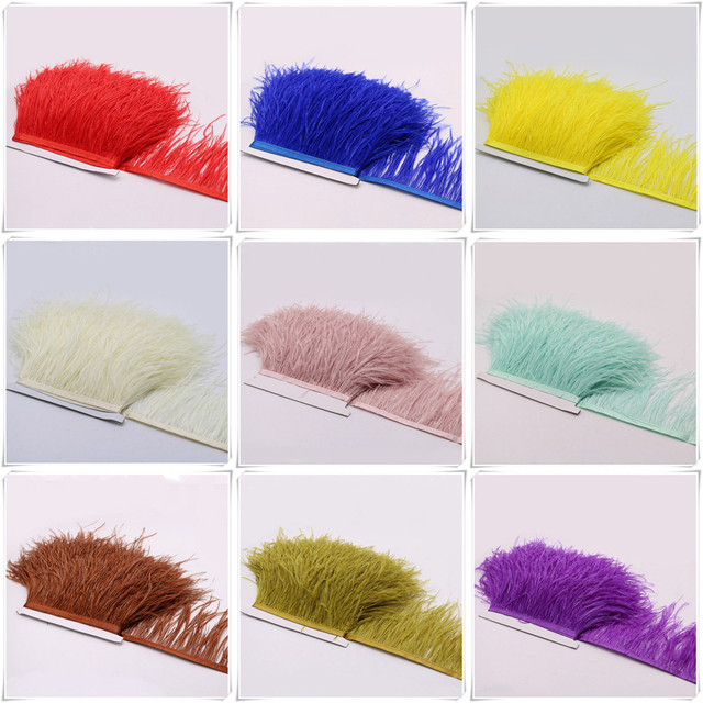2meters  width 12-15cm Ostrich Feather fringe trim cloth skirt lace for DIY Party Clothing Wedding Accessories Craft AP2193