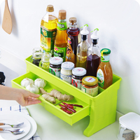 Double Drawer Shelf Bathroom Table Finishing Shelf Thick Plastic Kitchenware Seasoning Bottle Storage Shelf