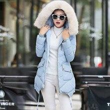 2016 Winter Women Down Jacket Fashion Fur Hooded Long Sleeve Zipper Long Parkas Padded Coat Female Casual Outwear Manteau Femme