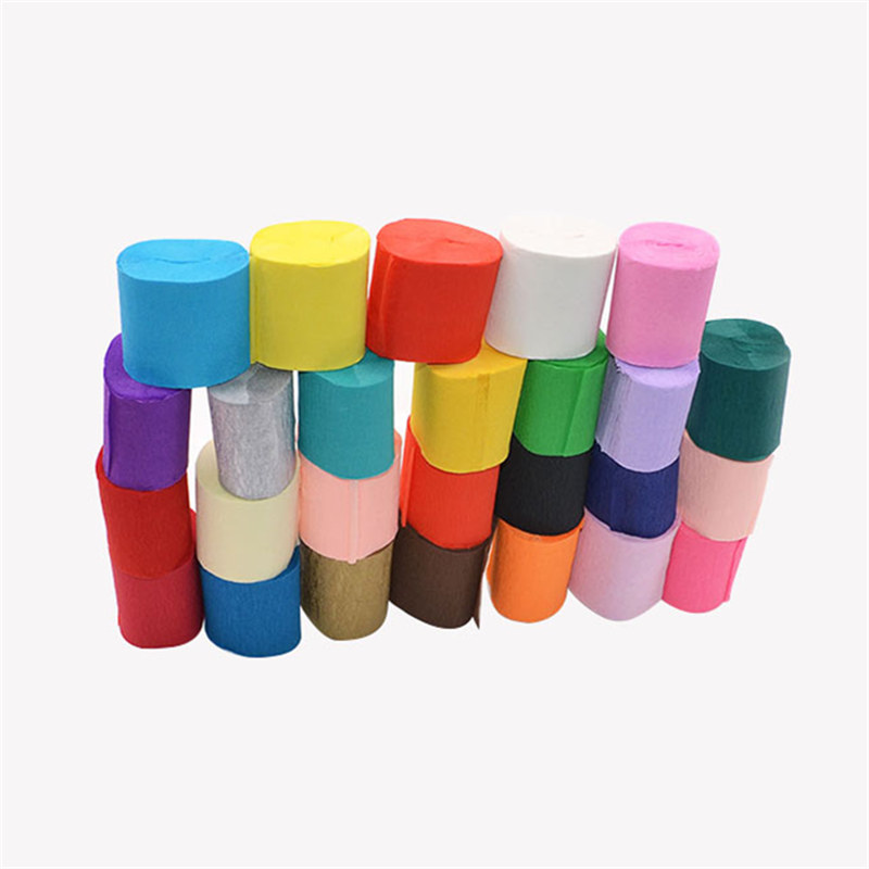 red 5cm*10 Meters Crepe Paper Streamers Tissue Paper Roll Flower Craft Making Birthday Wedding Party Backdrop DIY Decoration