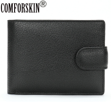 COMFORSKIN Guaranteed 100% Luxurious Cowhide Mens Wallet Short Style Men Leather Zipper Purse Multi-Card Bit Male Card