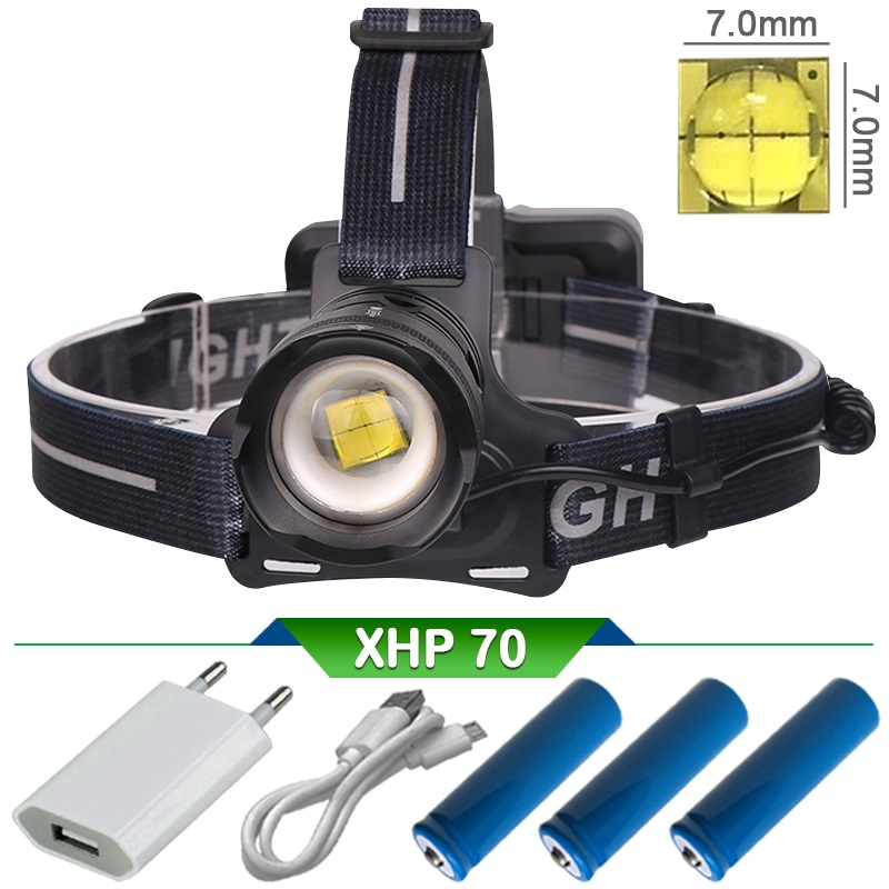 Xhp70 puissante rechargeable a phare led 18650 Zoom haute puissance led lampe frontale lampe frontale usb tête lampe torche lanterne