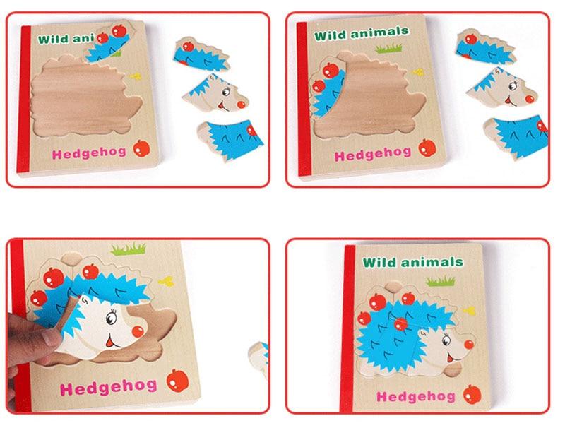 6 sidor trä pussel bok trä material djur frukt 3d pussel leksaker - Spel och pussel - Foto 4