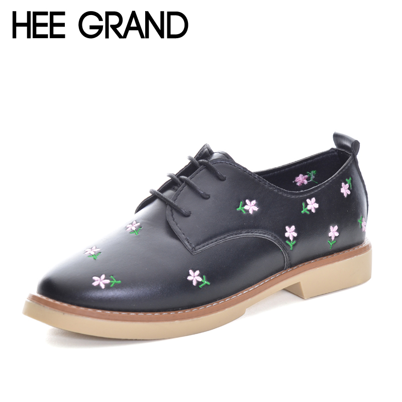 HEE GRAND Flower Decorate Women Oxfords Shoes Flat Platform Lace-up Fashion Shoes Woman British Style Footwear XWD5985 hee grand pointed toe pumps british style med heels patchwork t strap oxfords shoes woman casual vintage pump shoes xwd2469
