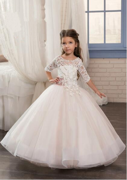 High Quality 2017 White Ivory Tulle First Communion Dresses for Girls Ball Gown with Belt Elegant Flower Girl Dress new hot pretty ivory or white appliques tulle beads sash flower girl dresses with train white girls first communion dresses