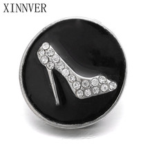 10Pcs/lot Unisex Charm Pulseras Black High Heels 18mm Metal Snap Button Jewelry For Bracelet Watches Women one Direction ZA459