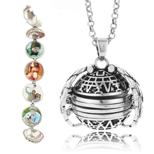 Magic 4  Photo Frame Memory Locket Ball  Pendant Necklace Silver/Gold Color Angel Wings Jewelry Women Album Box Necklaces Gift все цены