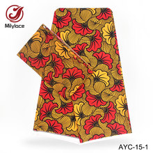 High quality 2 yards Chiffon+4 yards Satin fabric Nigeria design African wax pattern satin fabric for party 2 in in style AYC-15 все цены