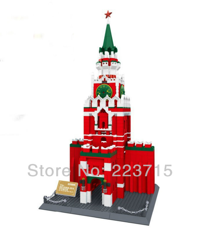 Free Shipping!*The Spasskaya Tower of KREMLIM* DIY enlighten block bricks,Compatible With other Assembles Particles free shipping the tian an men diy enlighten block bricks compatible with other assembles particles