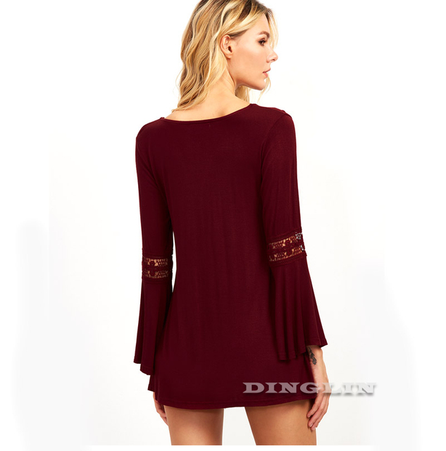 Burgundy Flare Sleeves Ruffles Women Blouse Long
