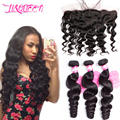 Brazilian Virgin Hair 13x4 Lace Frontal Closure Human Hair With Closure 7A Brazilian Hair Weave Bundles Loose Wave With Closure