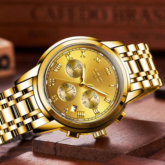 LIGE Men's Fashion Brand Multifunction Chronograph Quartz Wristwatches 3