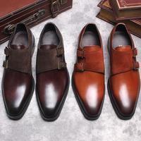 Итальянские Стильные Классические туфли мужские слипоны с пряжкой на ремешке из натуральной кожи в стиле пэчворк из нубука, повседневные о