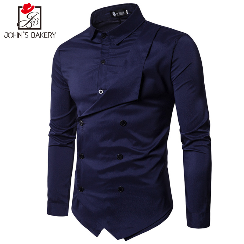 Men Shirt 2018 Spring New Brand Mens Slim Fit Dress Shirt Male Long Sleeves Fake two Casual Shirt Camisa Masculina Size M-XXL ...
