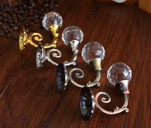 Clear Glass Hooks Crystal Wall Clothes Hangers Gold Silver Coat Hat Antique Bronze Copper Curtain Tie Back