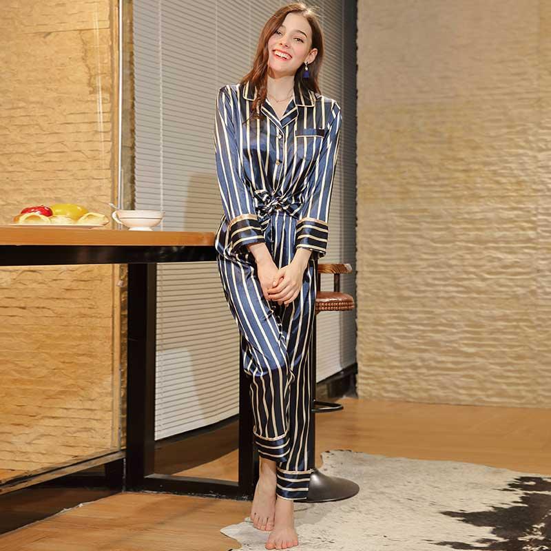 Autumn Women Long Sleeve Striped Pajamas Sets Long Pants Slik Satin 2 Pieces Sleep Wear Set Sleep Clothing Loungewear Night Suit