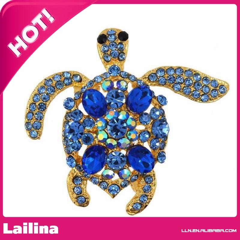 Womens Crystal Rhinestone Tortoise Sea Turtle Brooch Pin Party Jewelry Gift Blue Rhinestone