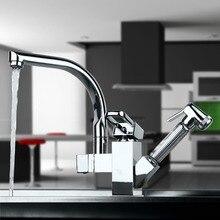Новый дизайн вытащить кран хром поворотный раковина смеситель кухонный кран тщеславия кран Cozinha 92347