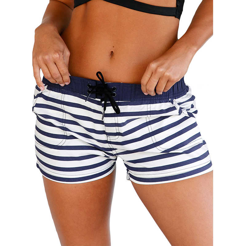 hotapei women Board Shorts Nautical Striped Pocket Design Quick-drying running shorts ladies 2019 joggers summer Trunks LC410279