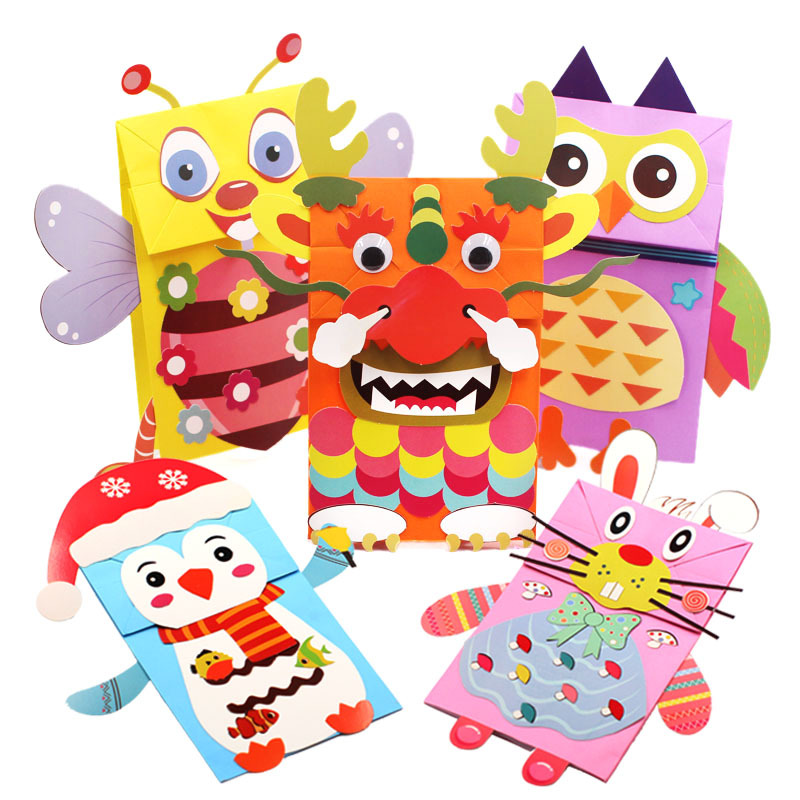 3D Cartoon Animal Paper Bag Hand Puppets Children Creative Puzzle DIY Props Kids Craft Toys Kindergarten Handmade Material Bags