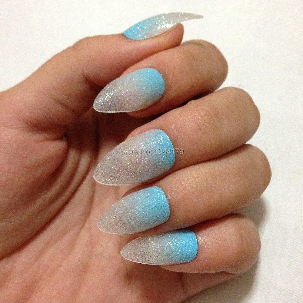 New 24PCS Sparkling Talon Nail Art Tips Sky Blue Color Glitter False ...