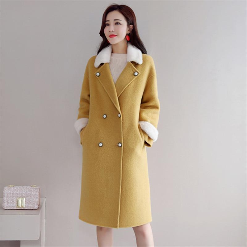 Elegante Lana 2018 Abrigos Moda Mujeres Largo Amarillo Ropa Estilo Invierno  Abrigo Coreano Vintage nzW1Fx1 93f00c83a0aa