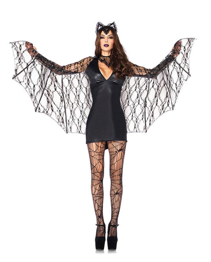 Vocole Adult Women Sexy Black Batman Batgirl Costume Halloween Bat Vampire Cosplay Fancy Dress Mini Dress With Lace Wings