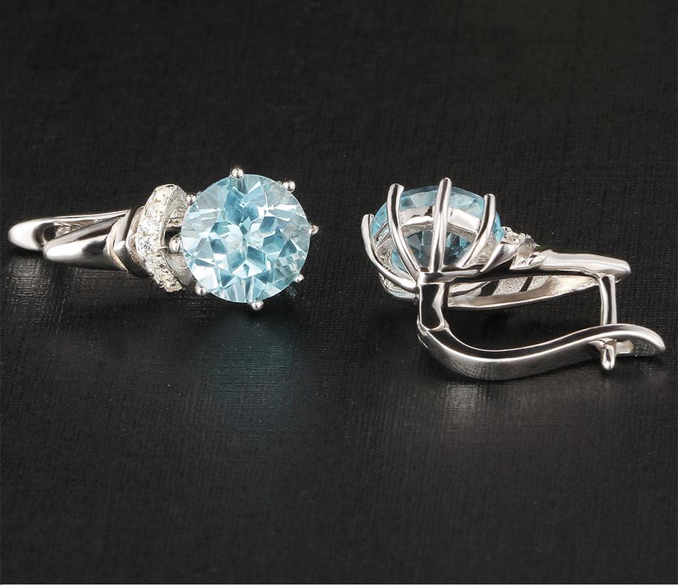 Kuololit natural sky blue topaz clip earrings for women KR006B-1_01 (4)