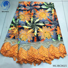 BEAUTIFICAL african wax printed fabric ankara 6 yards/lot with guipure cord lace ML38C0613-23