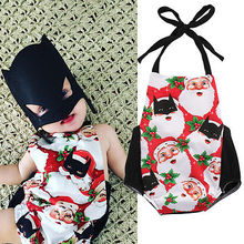 Newborn Baby Boys Girls Santa Claus Christmas Backless Jumpsuit Bodysuit Clothes Outfit Xmas